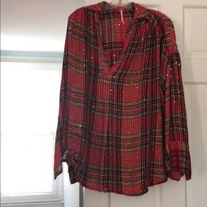 Free People Tops - Free People Plaid Sequin Embellished Henley Top